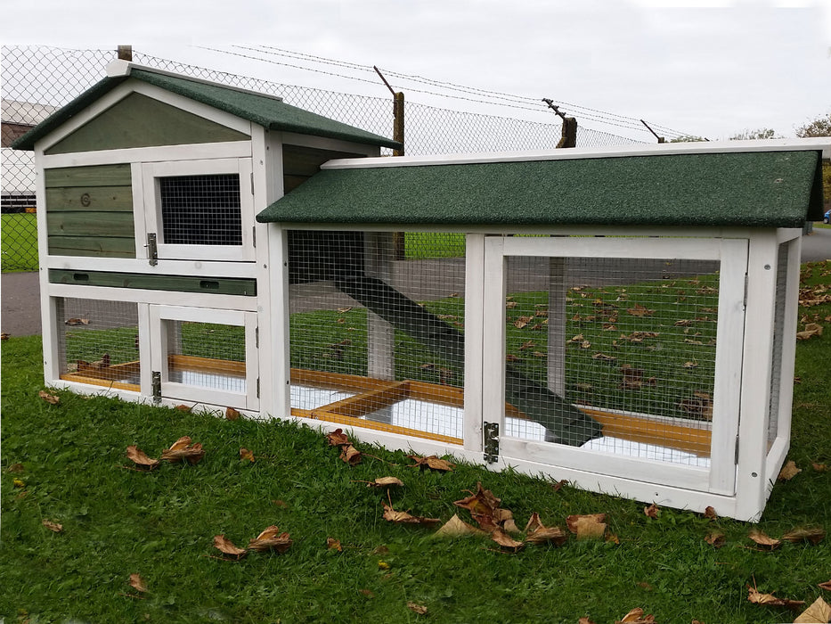 Rabbit Hutch With Run XL Green Deluxe