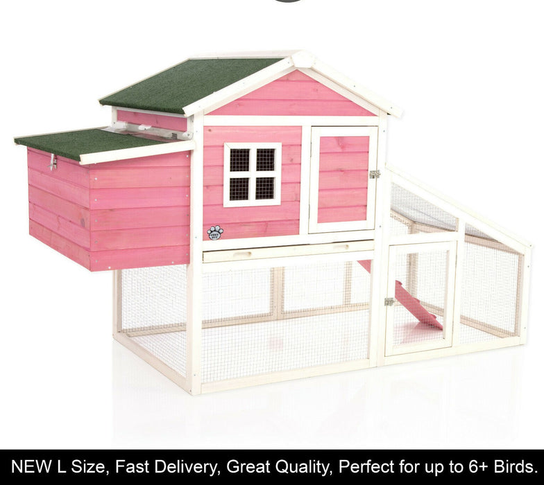 Chicken Coop Rabbit Hutch Ark Pink For 6-7 Birds EASY TO PAINT OVER