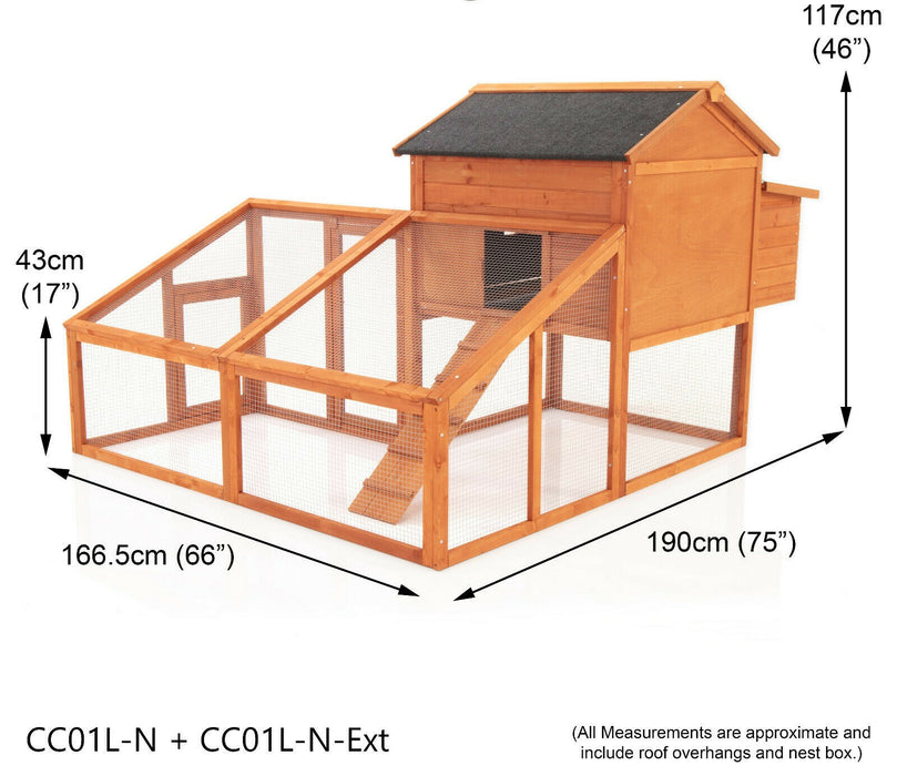 Large Extended Chicken Coop Rabbit Hutch For 6-8 Birds