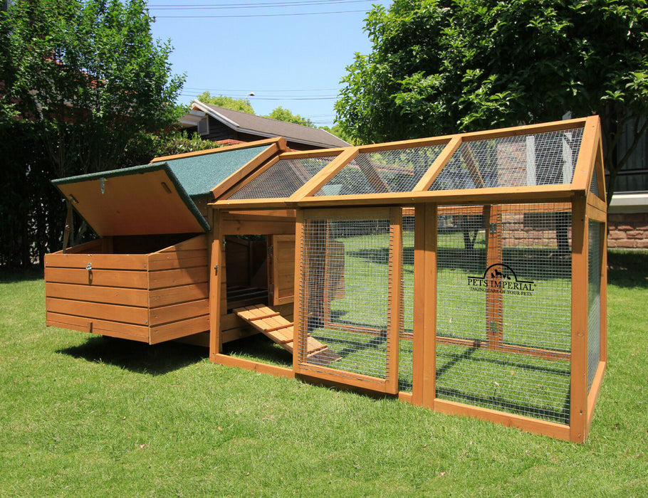 Large Chicken Coop House Run Rabbit Hutch For 12-15 Birds