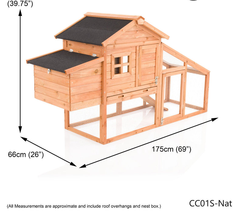 Chicken Coop Rabbit Hutch Ark For 3-5 Birds