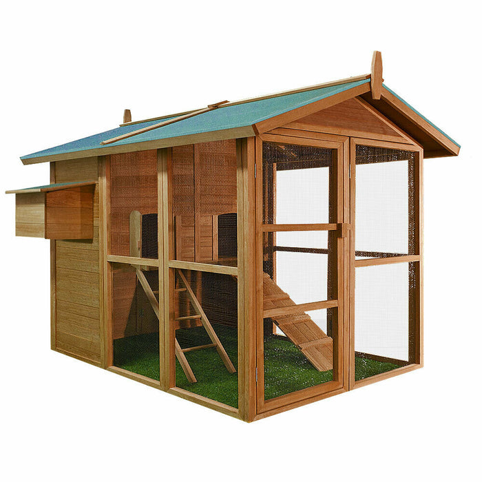 Large Chicken Coop Run House Rabbit Hutch Nest Box For 5-7 Birds
