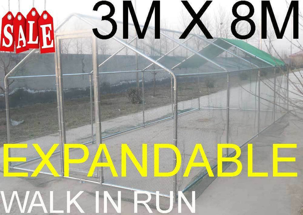 Chicken Run, Dog, Rabbit 3m x 8M Walk in Run