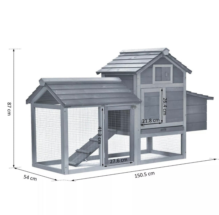 Small Chicken Coop Hen Cage Nesting Box Run Grey For 2-3 Chickens