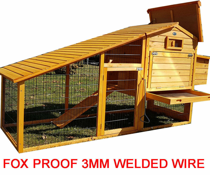 Chicken House Coop With Run & Fox Proof 3MM Wire 7FT For 5-7 Birds