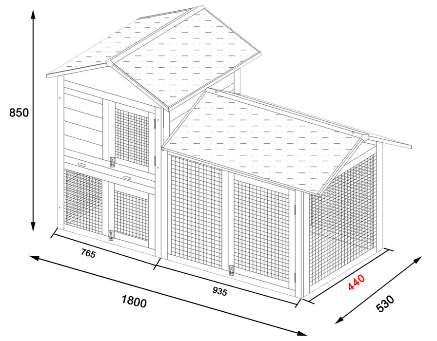 Rabbit Hutch With Run XL Deluxe