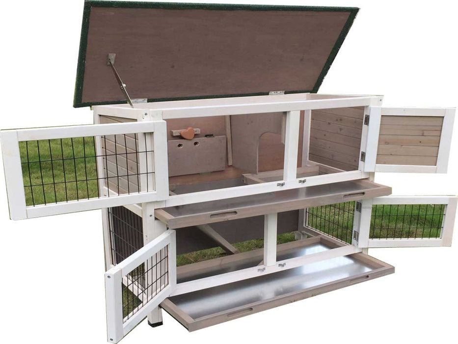 Rabbit 2 Tier Double Hutch With 2 Removable Dirt Trays Grey