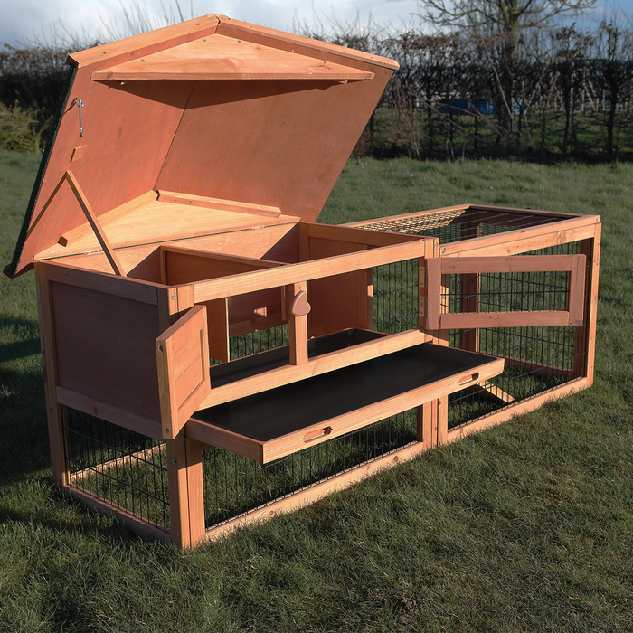2 Tier Rabbit, Ferret and Guinea Pig Hutch With Run