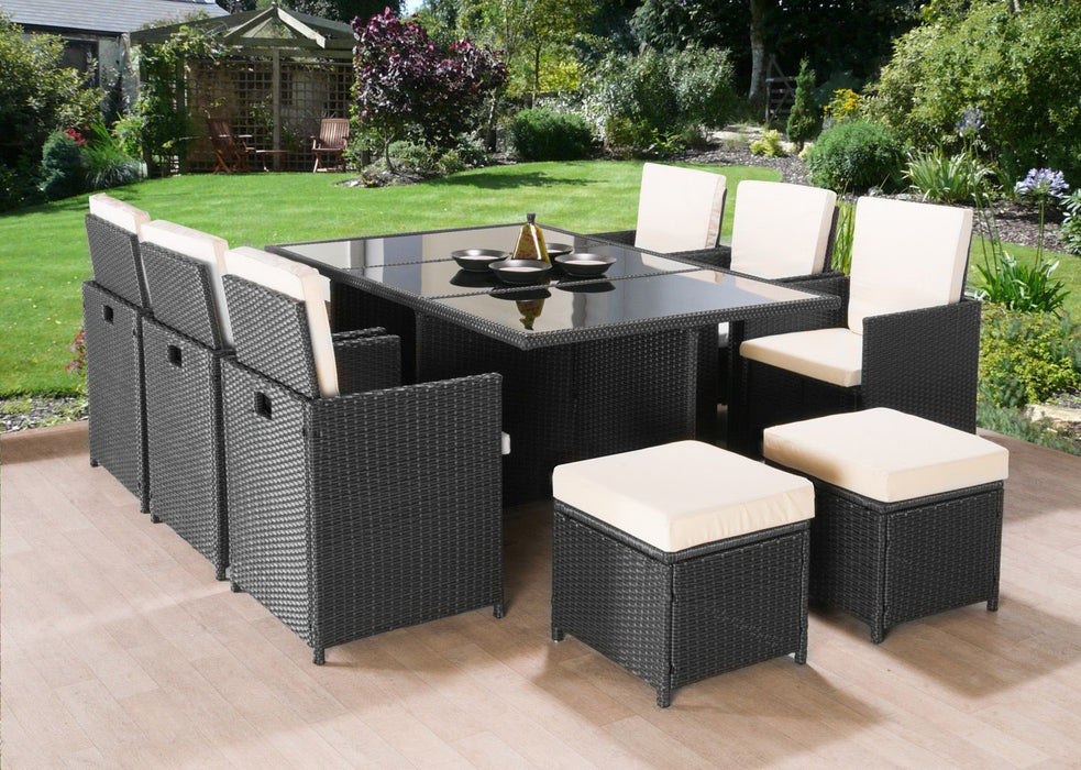 Rattan 10 Seat Cube Set Black or Brown - BlueWhaleSales