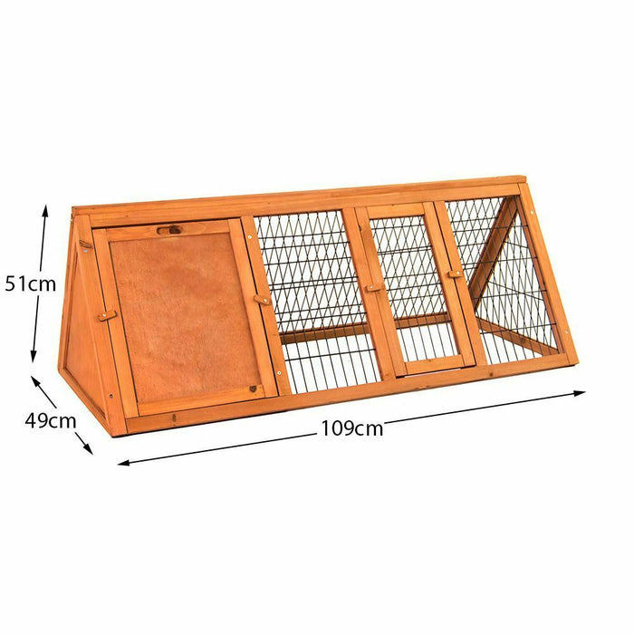 Rabbit & Guinea Pig Hutch Triangle Wooden Cage Run - BlueWhaleSales