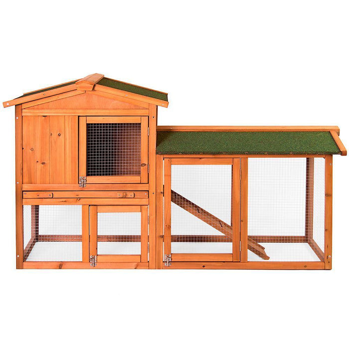 Rabbit & Guinea Pig Hutch Run Wooden 2 Tier Cage - BlueWhaleSales