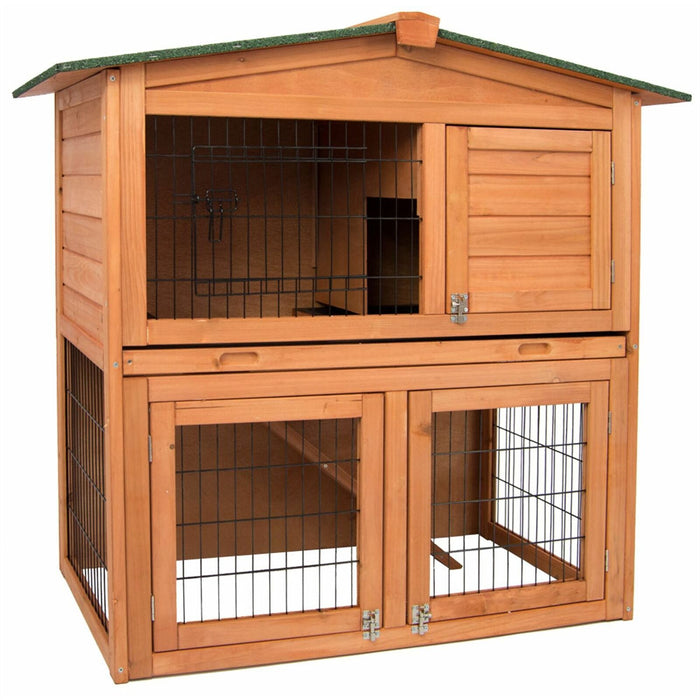 Rabbit & Guinea Pig Hutch Wooden 2 Tier Cage Run - BlueWhaleSales