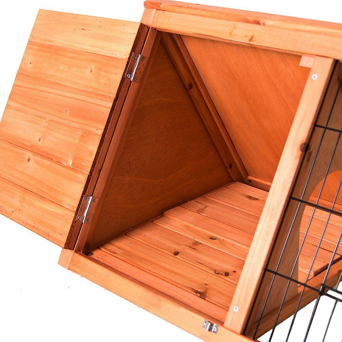 Rabbit & Guinea Pig Run Hutch Triangle Wooden Cage - BlueWhaleSales