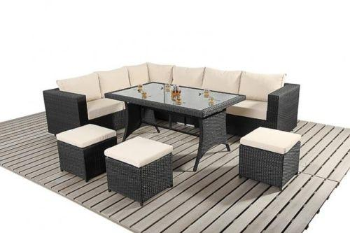 Rattan 9 Seat Corner Table & Stools Garden Furniture Set in Various Colours
