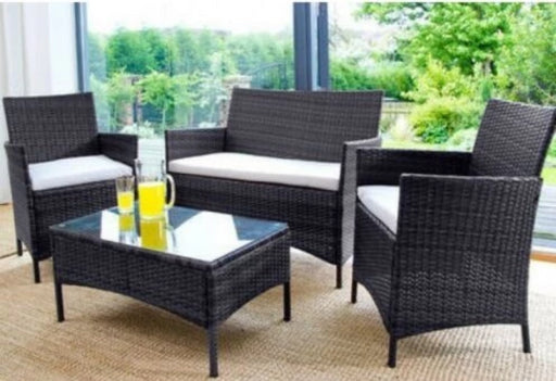 Rattan 4 Piece Garden Furniture Black Set