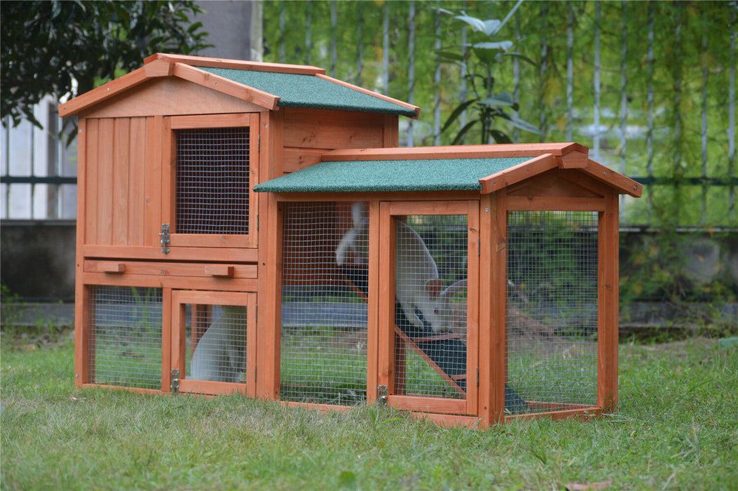 Rabbit and Guinea Pig Hutch Run Red