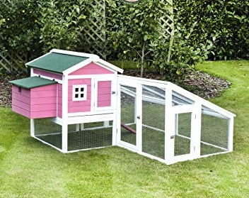 Large Extended Chicken Coop Rabbit Hutch Pink For 6-8 Birds EASY TO PAINT OVER