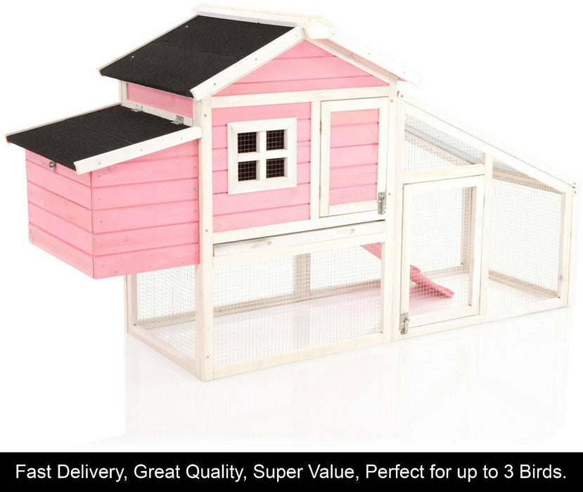 Chicken Coop Rabbit Hutch Ark Pink For 3-5 Birds EASY TO PAINT OVER