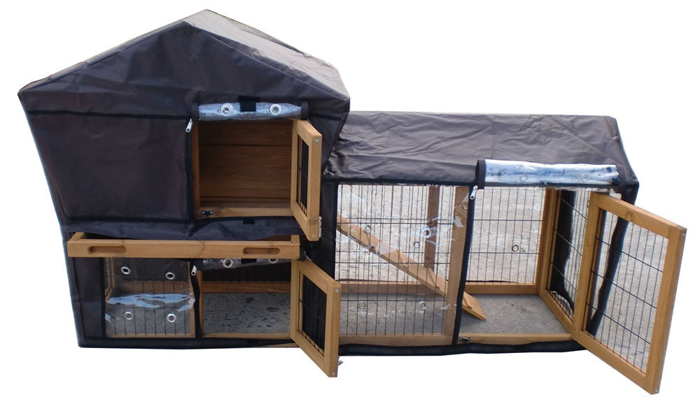 Rabbit Hutch With Run Deluxe Brown XL