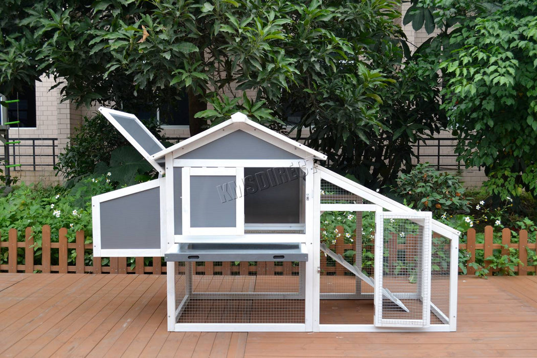 Chicken Coop Nest Box Shelter House Rabbit Hutch Run Grey Sent For 3-5 Birds