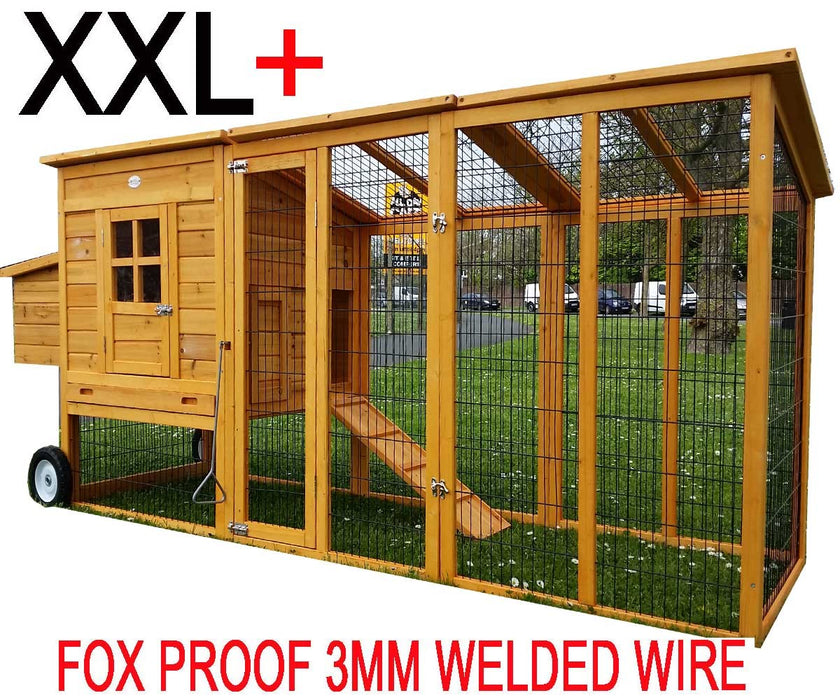 Chicken Coop House On Wheels XXL 8FT For 5-8 Birds