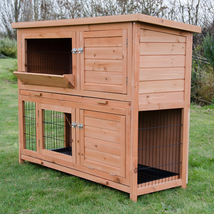 4FT Large Rabbit Hutch With Run 2 Tiers