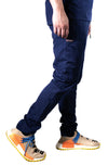Premium slim fit tapered scrub pants side navy