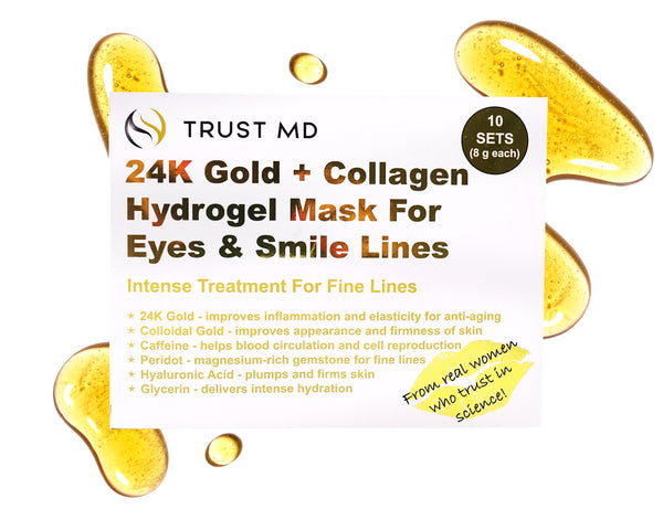 24K Gold + Collagen Hydrogel Mask For Eyes and Smile Lines