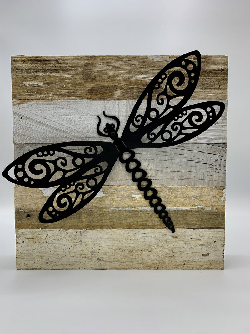 "Steel Roots Decor 3D Dragonlfy Metal on Reclaimed Wood 10""x10"""