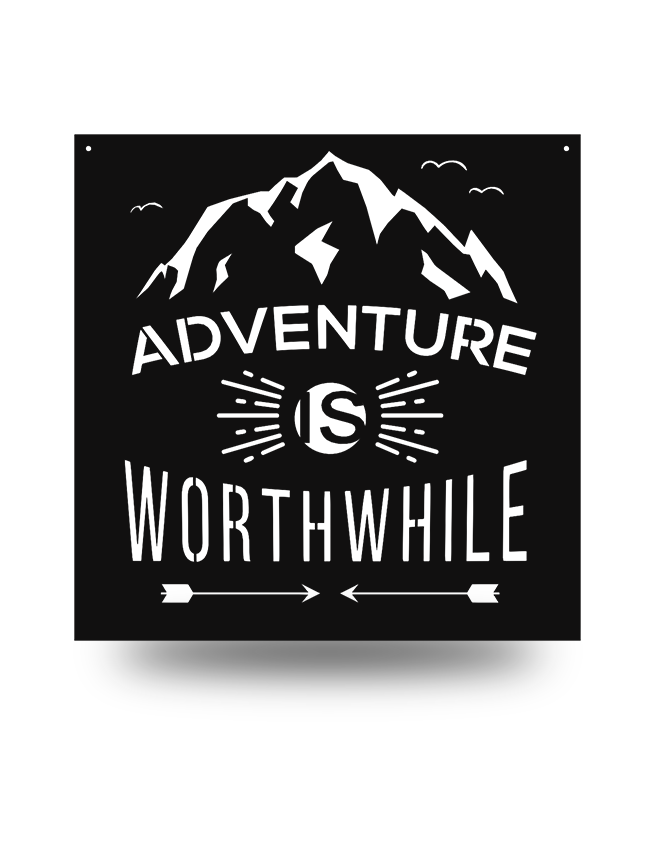 "Steel Roots Decor Black ""Adventure Is Worth While"" Wall Art 18"""