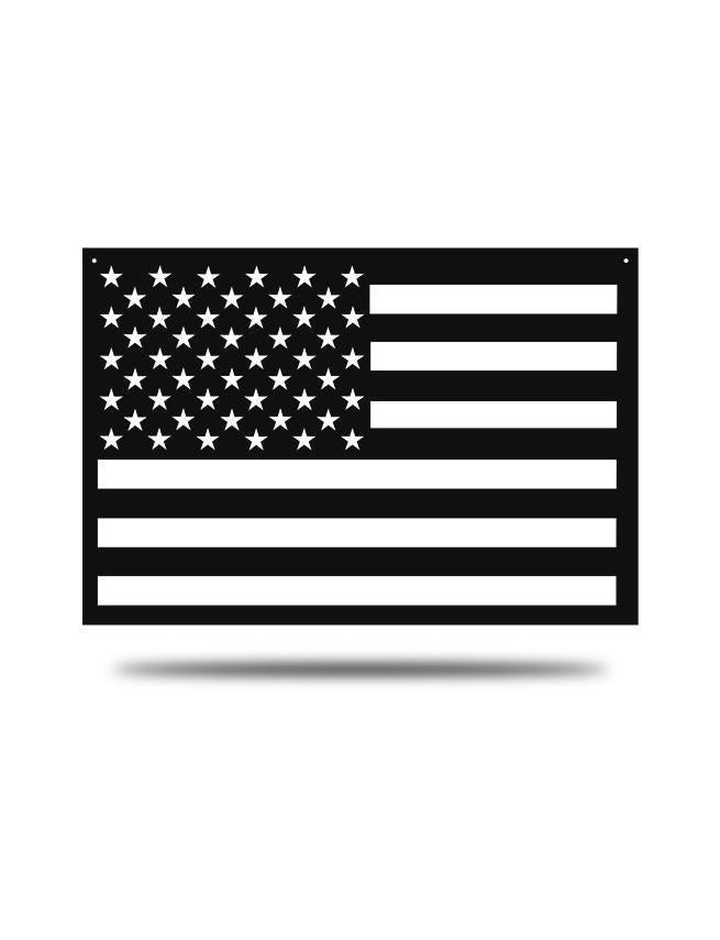 "Steel Roots Decor Black ""American Flag"" Wall Décor 23x14"