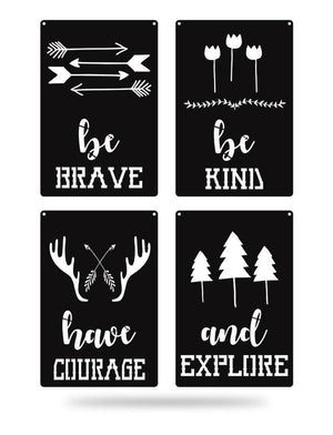 Steel Roots Decor Black Brave Kind Courage Explore 4 Pack