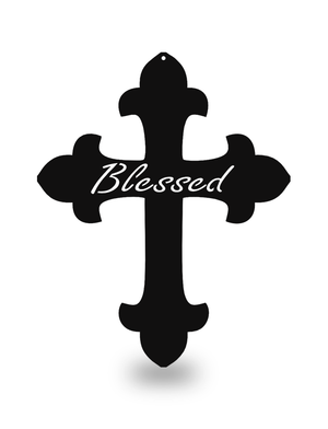 "Steel Roots Decor Black ""Cross Blessed"" Wall Décor"