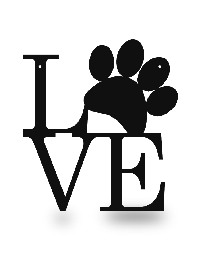 Steel Roots Decor Black Dog Paw Love