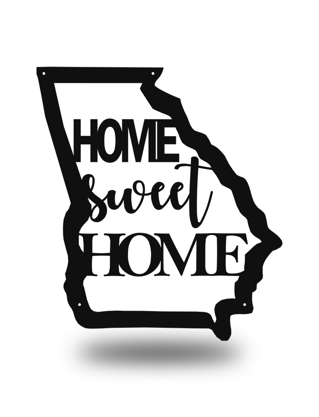 "Steel Roots Decor Black ""Home Sweet Home GA"" Wall Art"