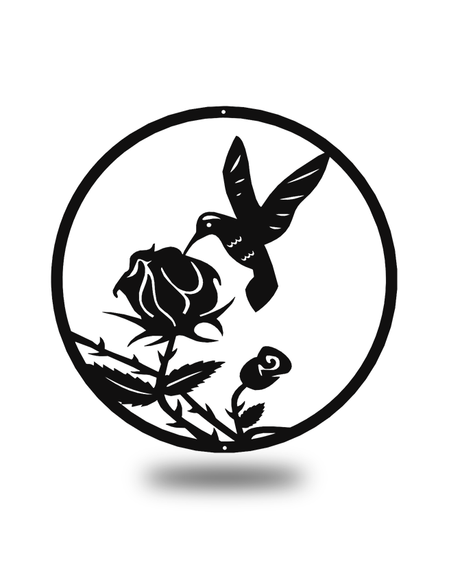 "Steel Roots Decor Black ""Hummingbird Rose"" Wall Décor"