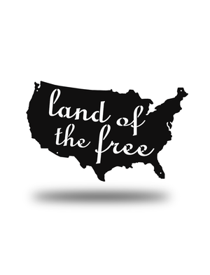 Steel Roots Decor Black Land Of The Free U.S. Outline
