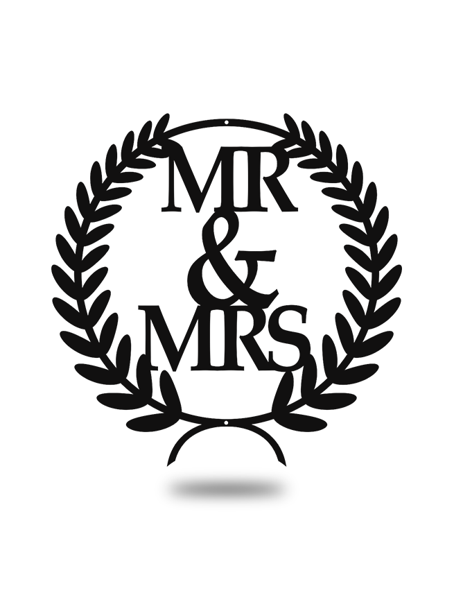 "Steel Roots Decor Black ""Mr & Mrs"" Wreath Wall Décor"