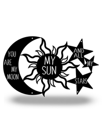 "Steel Roots Decor Black ""You are my Moon, My Sun and Stars"" 18"""
