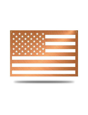 "Steel Roots Decor Copper ""American Flag"" Wall Décor 23x14"