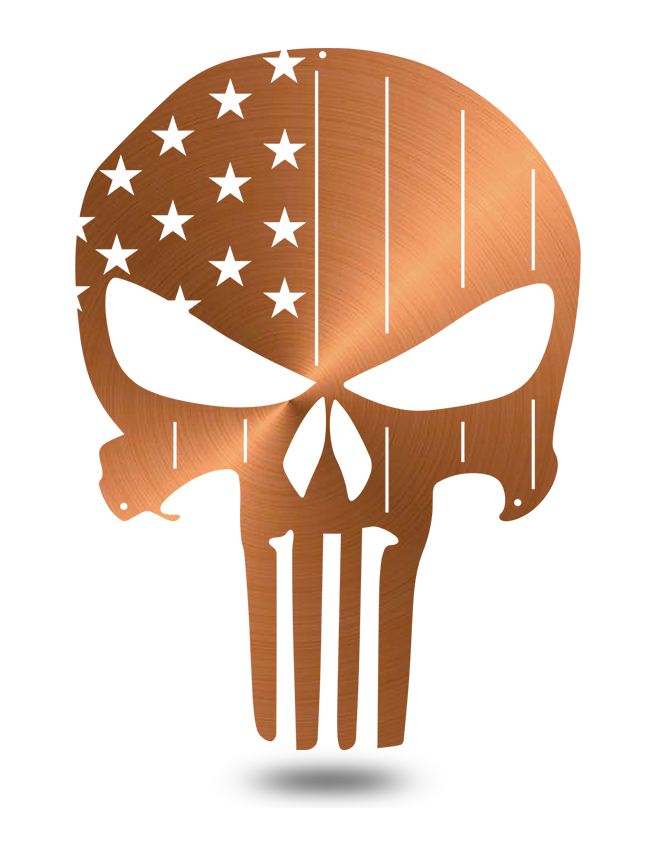 "Steel Roots Decor Copper ""American Punisher Skull"" Wall Décor"