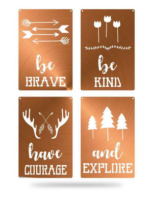Steel Roots Decor Copper Brave Kind Courage Explore 4 Pack