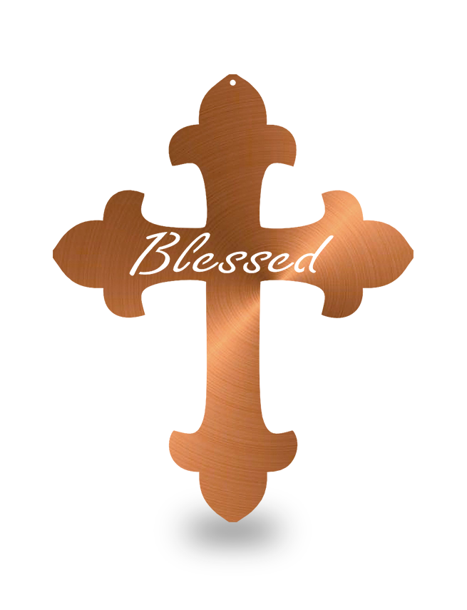 "Steel Roots Decor Copper ""Cross Blessed"" Wall Décor"