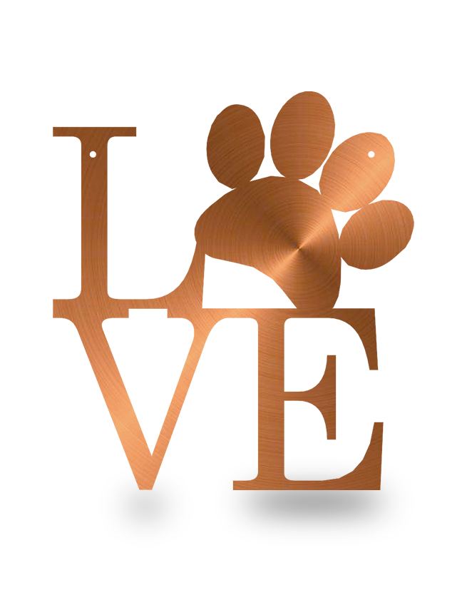 Steel Roots Decor Copper Dog Paw Love