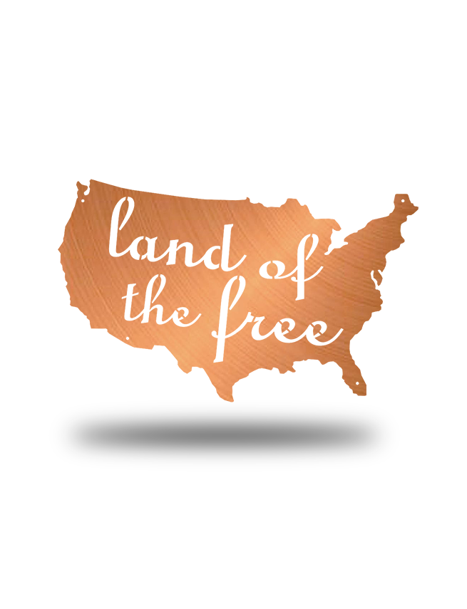 Steel Roots Decor Copper Land Of The Free U.S. Outline