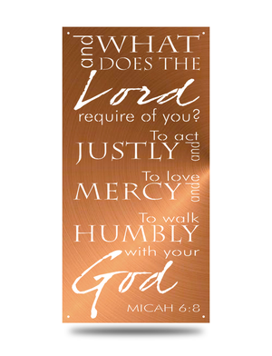 "Steel Roots Decor Copper ""Micah 6:8"" Rectangular Wall Accent"