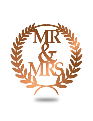 "Steel Roots Decor Copper ""Mr & Mrs"" Wreath Wall Décor"