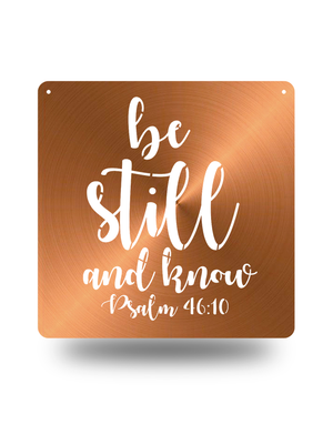 "Steel Roots Decor Copper ""Psalm 46:10"" Square Wall Art"