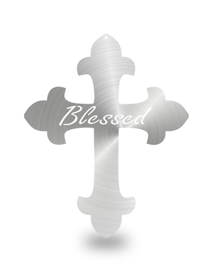"Steel Roots Decor Polished ""Cross Blessed"" Wall Décor"