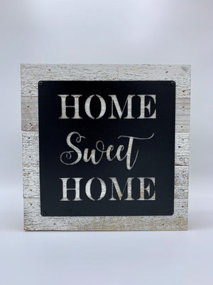 Steel Roots Decor Home Sweet Home Metal Monogram on Reclaimed Wood